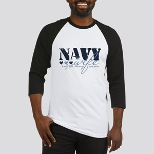Navy Wife ... [blue] Baseball Jersey